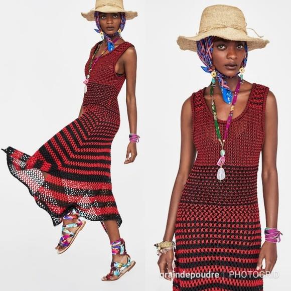 bbf85f6d070c Zara Dresses | Studio Red Linen Crochet Knit Dress Vacation | Poshmark
